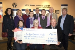 New Ross Credit Union presented a cheque for 18,610 euro to the New Ross Community Hospital. Pictured at the presentation were Christine Leahy, Stella Kehoe (New Ross Credit Union), Jim Collins, Stacey O'Connor, Denis North, Philip Sinnott, John Furlong, Arthur O'Sullivan. Front- Deirdre Caulfield (New Ross Community Hospital), Frances Ryan (New Ross Community Hospital), Sean Furlong (Chairman, New Ross Credit Union). Pic: Jim Campbell