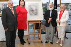 At the launch of the Silent Tide at Ross in the Dunbrody Visitor Centre in aid of New Ross Community Hospital were James Ryan Fundraising Committee, Laura Collins Director of Nursing at New Ross Community Hospital, artist Danny O'Braonáin and Frances Ryan Chairperson of the hospital Board of Directors.
